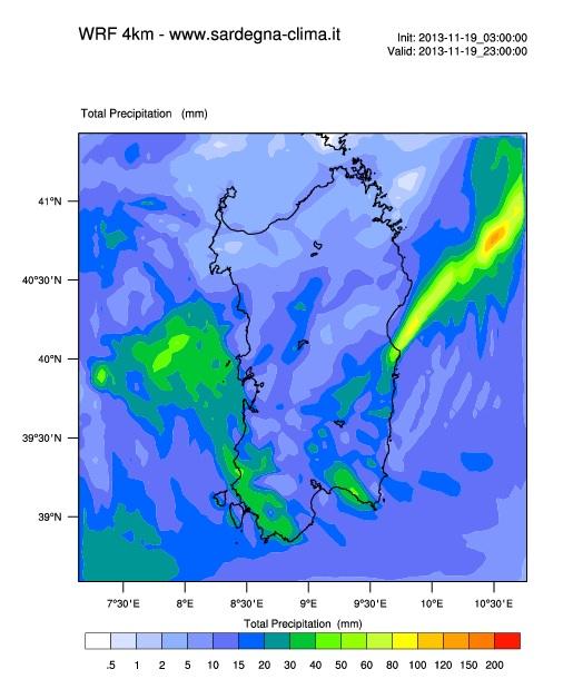 precipitazioni totali fino alle 23 di oggi